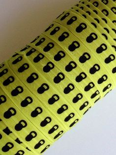 """Yellow with Black Kettle Bell 5/8"""" Fold Over Elastic 5 Yards on Etsy, $4.25"""
