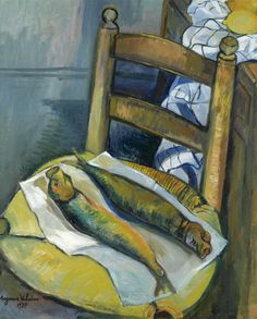 """pintoras: """"Suzanne Valadon (French, 1865 – 1938): Still life with fish (1937) (via Sotheby's) """""""