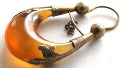 Antique Edwardian 9ct Gold Real Amber Earring