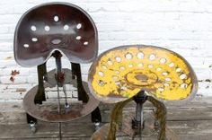 The curved Tractor Seat Stool is made with original salvaged tractor seats found in rural towns and junkyards across the USA. The bases are made from recycled steel and come with rubber casters or adjustable feet. Tractor Room, Tractor Seat Stool, Industrial Chic, Industrial Furniture, Charcoal Grill, Furniture Inspiration, Inventions, Tractors, Craft Projects