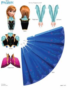 FROZEN Anna Papercraft, great craftivity at frozen birthday party Disney Frozen Party, Frozen Birthday Party, 3d Paper, Paper Toys, Free Paper, Papier Kind, Anna E Elsa, Frozen Free, Frozen Kids