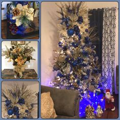Blue Christmas Tree Decorations, Gold Christmas Tree, Christmas 2017, Holiday Decor, Royal Blue And Gold, Tree Toppers, Holidays, Party, Home Decor