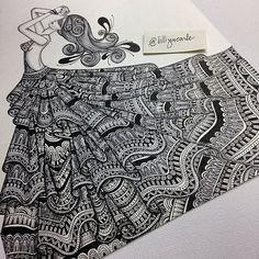 Billijin Carle on Talenthouse Doodle Art Drawing, Girl Drawing Sketches, Zentangle Drawings, Mandala Drawing, Zentangles, Abstract Face Art, Black Art Painting, Fashion Design Sketchbook, Mandala Art Lesson