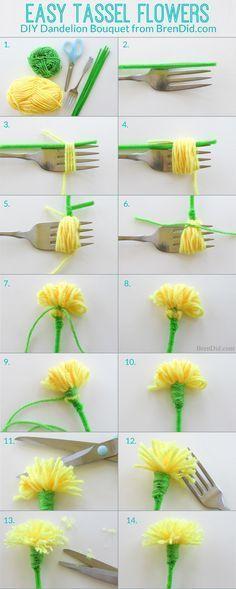 Garner i gult och grönt, gröna piprensare, limpistol, sax och gaffel – med dessa saker som grund kan du enkelt pyssla en bukett med lysande gula maskrosor. Detta pysseltips från bloggaren Bren Did ...