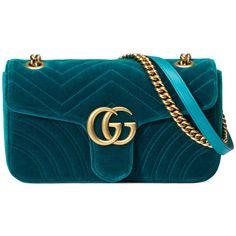 Gucci Gg Marmont Velvet Shoulder Bag found on Polyvore featuring bags, handbags, shoulder bags, petrol blue, gucci handbags, blue shoulder bag, chain shoulder bag, structured handbags and structured purse