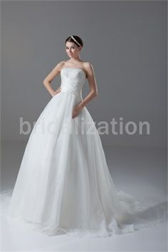 Ivory Church Ball Gown Strapless Court Train Satin Wedding Dress