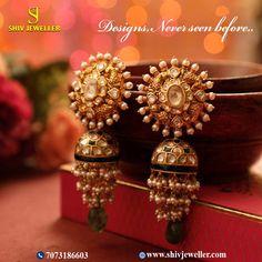 Price For Gold Jewelry Key: 4063792118 Indian Jewelry Earrings, Indian Wedding Jewelry, Jewelry Design Earrings, Gold Earrings Designs, Gold Jewellery Design, Gold Jewelry, Jhumka Designs, Fancy Jewellery, India Jewelry
