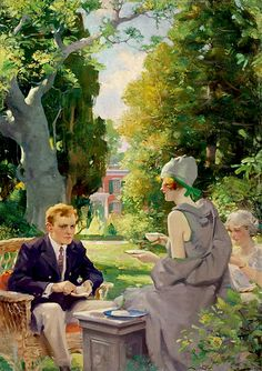 Tea in the Afternoon. Charles Edward Chambers (1883-1941) - an illustrator and classical painter