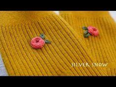 bullion knot stitch rose embroidery 불리온 노트 로즈 스티치 장미 수놓기 - YouTube