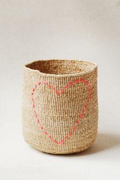Stitched Basket - Heart