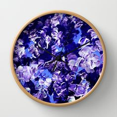 FLORAL FANTASY 2 Bold  Blue Lavender Purple Abstract Flowers Acrylic Textural Painting Garden Art Wall Clock by EbiEmporium - $30.00 #home #homedecor #clock #wallclock #walldecor #artclock #kitchen #dorm #decorative #dorm #accessories #art #decorative #homedecor #stylish #furnishing #navyblue #indigo #abstract #painting #fineart #art #floral #flowers #blue #periwinkle #purple #lilac #lavender #feminine #whimsical #modern #chic #girlie #elegant #boldcolors #colorful #contemporary #stylish