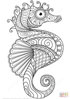 Caballito de Mar Zentangle | Super Coloring                                                                                                                                                                                 Más