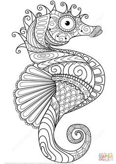 Caballito de Mar Zentangle | Super Coloring