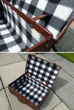 Reline vintage suitcase - a fantastic tutorial!