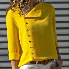 Summer 2018 Fashion Button Long Sleeve Yellow White Shirt Womens Tops And Blouses Female Tunic Office Chemise For Feminina FemmeLong Sleeve Shift Buttoned Casual Solid Blouses – Miss ArtyDamen Langarm-Button-Down-lose beiläufige grundlegende Bluse Hippie Hose, Fall Shirts, Chiffon Shirt, Chiffon Blouses, Mode Inspiration, Blouses For Women, Ladies Blouses, Ladies Shirts, Ladies Dresses