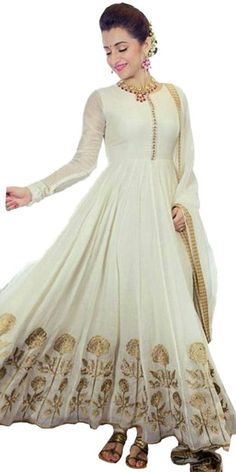 Terrifying Off-White Silk Anarkali Suit With Dupatta.