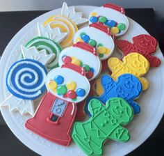 Decorated Candyland Birthday Cookie Favors by peapodscookies