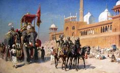 Great Mogul And His Court Returning From The Great Mosque At Delhi India - Oil Painting by American Artist Edwin Lord Weeks - Army of the Mughal Empire - Wikipedia History Of India, World History, War Elephant, Moslem, India Painting, Travel Sketchbook, Most Famous Paintings, Early Middle Ages, Middle East