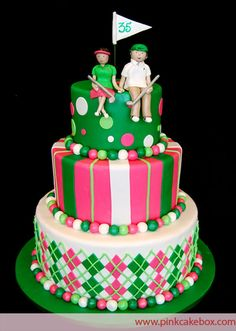 Golf Themed Wedding Anniversary Cake by Pink Cake Box in Denville, NJ.  More photos at http://blog.pinkcakebox.com/golf-themed-anniversary-cake-2009-07-08.htm  #cakes