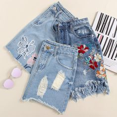 To find out about the Faded Wash Cutout Embroidered Raw Hem Denim Skirt at SHEIN, part of our latest Denim Skirts ready to shop online today! College Outfits, Get Dressed, Denim Skirt, Mom Jeans, Cute Outfits, Dresses For Work, Style Inspiration, Womens Fashion, Fashion Outfits