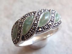 Jade and Marcasite Sterling Silver Ring Size 8 by cutterstone, $54.00