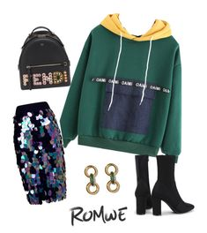 A fashion look from January 2018 featuring color block tops, high-waisted pencil skirts and pointy-toe boots. Browse and shop related looks. High Waisted Pencil Skirt, Romwe, Fendi, Fashion Looks, Skirts, Polyvore, Shopping, Color, Tops