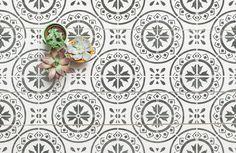 MORELLO Mediterranean Tile Stencil - Furniture Wall Floor Stencil for Painting Stencils Uk, Stencil Diy, Stencil Painting, House Painting, Stenciled Floor, Floor Stencil, Crazy Paving, Mediterranean Tile, Tuile
