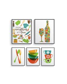 5 Set Modern Colorful Kitchen decor print set - Kitchen wall art - Kitchen prints - Kitchen art - Kitchen set - Kitchen poster - Retro color