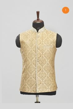 Manyavar Fawn Traditional Nehru Jacket