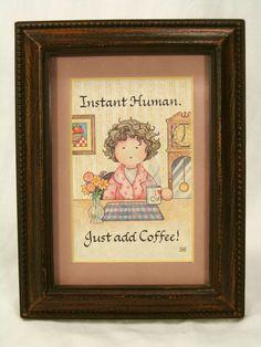 Coffee Art Instant Human Just Add Coffee Woman Bathrobe Babbling Brook Framed