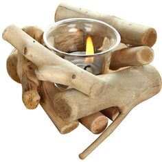 Pastoral Disarrayed Wooden Candle Holder ($12) ❤ liked on Polyvore featuring home, home decor, candles & candleholders, candles, decor, filler, interior, wooden home decor, wood candle and wood candleholders