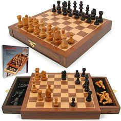 Inlaid Walnut style Magnetized Wood w/Staunton Wood Chessmen.  Take your gaming to the next level with the royal game, the game of chess! This beautiful chess set has been cleverly designed with fabric lined drawers on each side of the board for convenient piece storage. The Staunton pieces are excellently crafted from extravagant woods and feature a polished finish. All the pieces are easily stored inside the board for safe keeping.