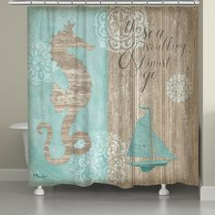 """Turn your bathroom into a coastal escape with the Beach Boardwalk Shower Curtain. Featuring the quote """"the sea is calling and I must go"""", this shower curtain is perfect for any coastal bathroom decor!"""