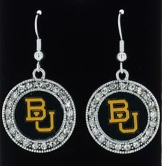 Officially Licensed Baylor Bears Crystal Studded Round Dangle Earrings #DropDangle