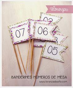 Números de Mesa Pinches - Casamientos y 15 años - lorenzadiseño.com