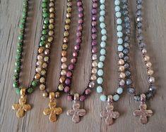 Crochet necklace 'Three Pearls & a Cross'  hammered by slashKnots