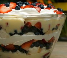So easy and a great tasting, light dessert. Angel food cake, blueberries, strawberries, cheesecake pudding, whip cream