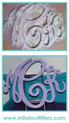 DIY glitter wreath monogram:  Spray paint monogram desired color.  3-4 coats recommended.  Then pour glitter over the monogram, covering it.  Top with a sealant.  So easy & so cute!