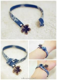 love the simplicity and the blue fabric. Perfect timing, too, because I've b… - DIY Schmuck Textile Jewelry, Fabric Jewelry, Beaded Jewelry, Handmade Jewelry, Jewellery, Handmade Bracelets, Denim Bracelet, Fabric Bracelets, Jewelry Bracelets