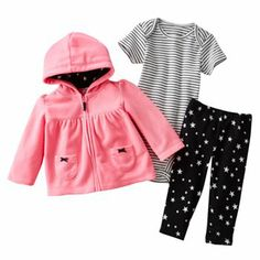 Carter's Star Microfleece Hooded Cardigan Set - Baby