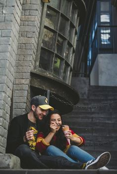 Apr 2019 - The Wizarding World in Orlando, Florida was the perfect place to encourage their magical minds and this spirit of playfulness that makes them so fantastic together. Harry Potter Engagement, Funny Engagement Photos, Offbeat Bride, You Are The World, Engagement Photo Inspiration, Black Couples, Poses, Orlando Florida, Wedding Humor