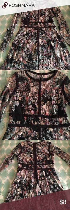 Lace pastel floral dress. Sheer arms & upper chest/back. Exposed back zipper. Black suede like piping Xhilaration brand. Black, mint, lilac, salmon, cream. Xhilaration Dresses Long Sleeve