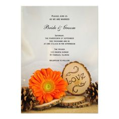 Invite your friends and family to your upcoming nuptials with the charming #Rustic Orange Daisy #Woodland #Wedding #Invitation. This outdoors theme custom woods wedding invite features a nature photograph of an orange daisy flower blossoms, wood slices, pine cones and a white bridal veil with a burlap and white satin background. Perfect for the couple who are planning a casual yet classy rustic or natural woodland wedding theme. #rusticwedding #woodlandwedding #woodswedding…