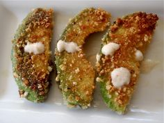 Note to self: Follow these directions for avocado fries, the other directions for the spicy roasted garlic dip. The other recipe I have for avocado fries is a huge mess and extra calories in the egg and flour... But the dip was delish!