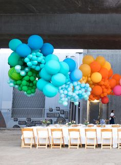 Whimsical dinner party with balloons