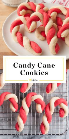These old-fashioned Candy Cane Cookies are perfect for holiday baking. Red and white peppermint cookie dough, twisted into a festive candy cane shape. Christmas Candy, Christmas Desserts, Christmas Treats, Christmas Parties, Cookie Desserts, Cookie Recipes, Dessert Recipes, Candy Cane Cookies, Holiday Cookies