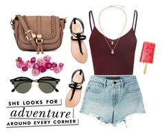 """Denim shorts"" by chase-stars ❤ liked on Polyvore featuring T By Alexander Wang, Zara, Kate Spade and Ray-Ban"