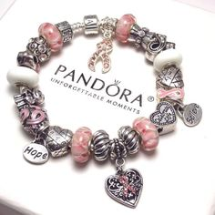Pandora Bracelet Silver Barrel Breast Cancer Awareness-FREE SHIPPING ****Beads and Charms are NOT made by Pandora!**** *A New Authentic Pandora Barrel Clasp No.