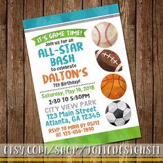 All-Star Sports Boy's Birthday Party Invitation or Baby Shower Invite - Basketball, Baseball, Football, Soccer - Boy 1st Birthday Printable