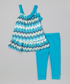 Loving this Turquoise Zigzag Tunic & Leggings - Infant, Toddler & Girls on #zulily! #zulilyfinds